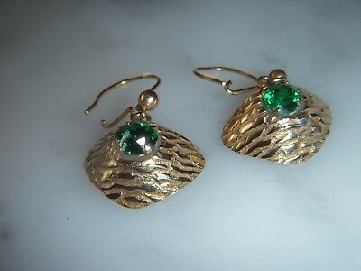 A Stunning Pair Of 9 Ct Gold Art Deco Emerald  Earrings