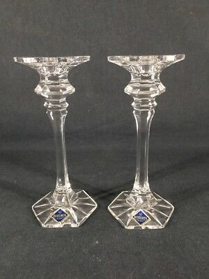 Pair Of Bohemia Crystal Candle Sticks With Labels (ref B945)