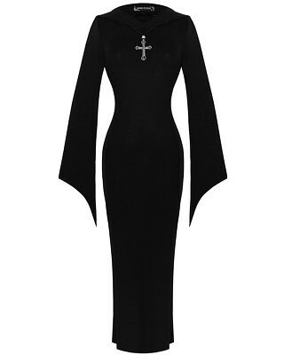 Dark In Love Hooded Witch Dress Long Black Gothic Occult Cross Necklace Maxi