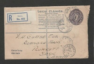 Ireland 1935 registered PSE to Canada with multiple RPO receivers