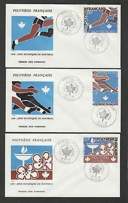 French Polynesia 1976  Montréal Olympic Games set of three FDC