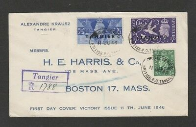GB 1946 offices in Tangier registered FDC to USA