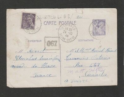 France 1944 censored up rated postal card to Canada