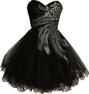 6 Color Short Peacock Cocktail Dress Bridesmaid Evening Party Wedding Gown N3245