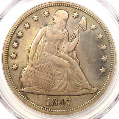 1847 Seated Liberty Silver Dollar $1 - PCGS VF Details - Rare Certified Coin!
