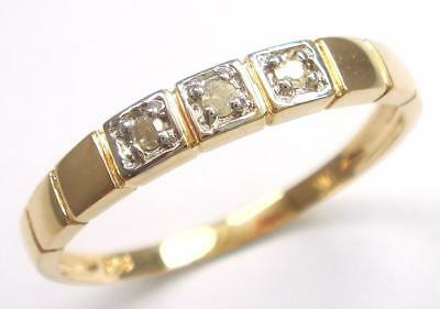 9CT SOLID YELLOW GOLD 3 NATURAL DIAMONDS RING  syjewellery    SIZE N      R1295