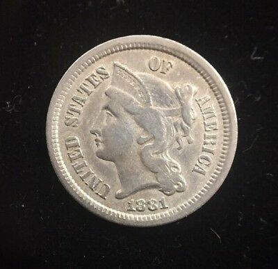 1881 Three Cent Nickel Early U.S. Collectible Coin
