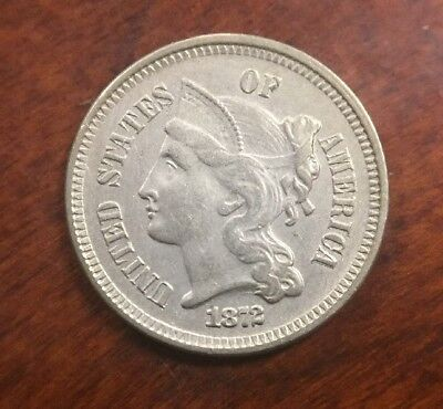 1872 Three Cent Nickel Early U.S. Collectible Coin