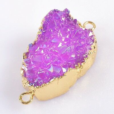 Purple Agate Titanium Druzy Connector Gold Plated T039484