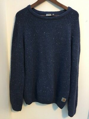 Men's Blue Speckled Carhartt Wool Jumper Size L