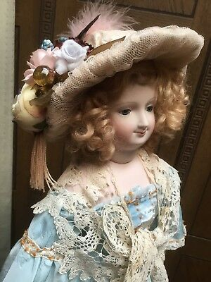 """Lovely 19"""" Antique Bisque Reproduction French Fashion Doll"""