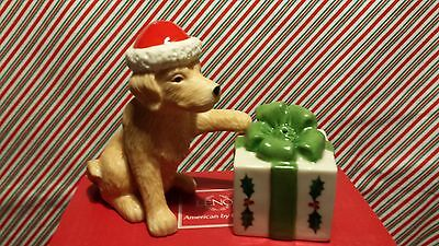 "Lenox ""holiday Dog And Present Salt & Pepper Shakers"" -- New In Box"