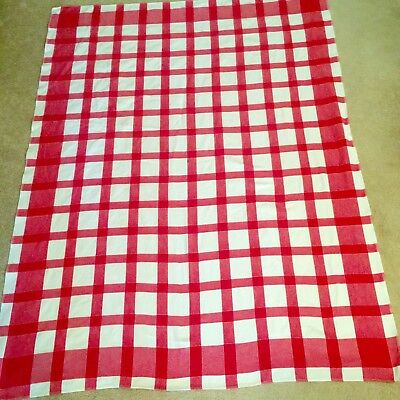 """Vintage Tablecloth Red White Check Picnic 49"""" X 63"""" SIMTEX"""