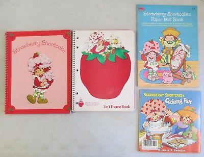 Pair Of Unused Strawberry Shortcake Notebooks W/ 2 Paperback Books
