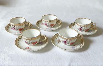 Set Of Five Late 19Th C Miniature German Dresden Porcelain Cups And Saucers