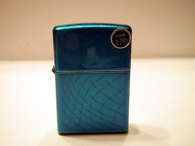 New without Box High Gloss Wavy Electric Candy Blue Zippo 10