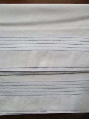 Pair Beautiful Vintage White Cotton Pillow Cases With Pale Blue Tramlines