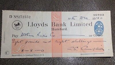 1940 Lloyds Bank Hereford Cheque