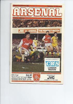 Arsenal v Manchester United League Cup Semi Final Football Programme 1982/83