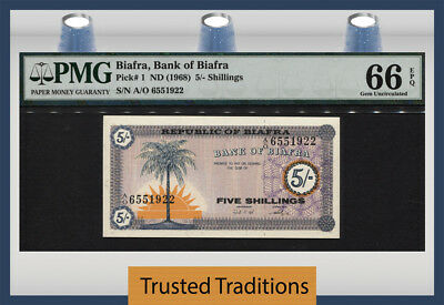 Tt Pk 1 1968 Biafra 5/- Shillings Pmg 66 Epq Gem Uncirculated None Finer Known!