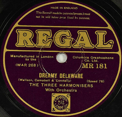 Schellackplatte - The Three Harmonisers - Dreamy Delaware / They Cut Down ...
