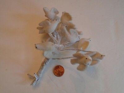 Set of 12 Vintage 1950's Felt Fuzzy Flocked Christmas Doves on Pipecleaner Picks