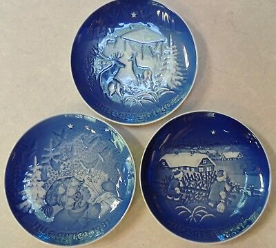 Lot of 3 Vintage BING GRONDAHL B&G Danish Porcelain Christmas Plates 1980-82