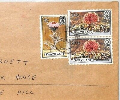 BT14 Swaziland *SWAZI PLAZA* Registered Commercial Air Mail Cover FLOWERS ISSUES