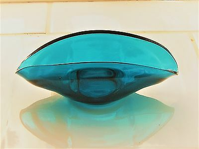 Vintage Retro 1950/60s Nazeing / Sowerby Turquoise Blue Glass Posy Bowl Pin Dish