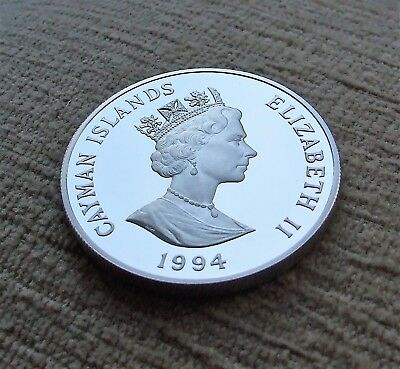 1994 Cayman Islands Silver Proof 1 Dollar Coin - Queen Mother .925 Silver 28.28g