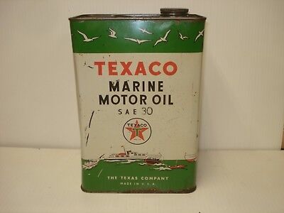 Texaco Vintage Marine Oil 1 Gallon Can with Handle SAE 30