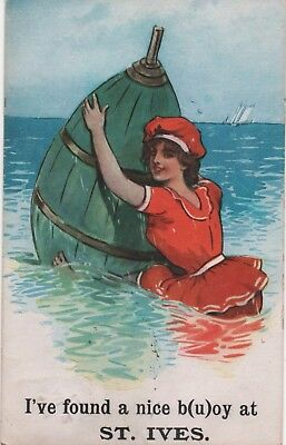 "Novelty Postcard ""I've found a nice b(u)oy at St Ives."