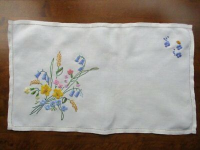 Stunning Vintage Cream Linen Hand Embroidered Spring Bluebell Flower Tray Cloth