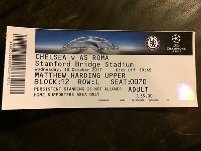 MATCH TICKET - CHELSEA v AS ROMA  2017-18 UEFA CHAMPIONS LEAGUE