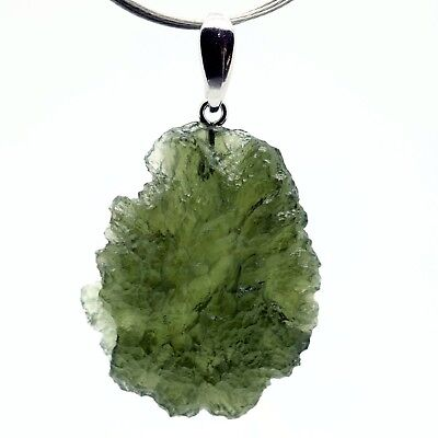 MOLDAVITE - 6.57 grams Sterling Silver Pendant - PERFECT GIFT CHRISTMASS COMING