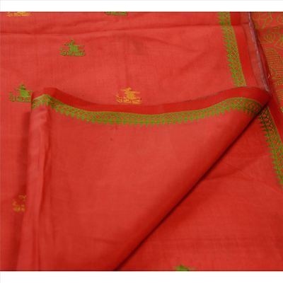 Sanskriti Antique Vintage Indian Saree 100% Pure Silk Red Woven Craft