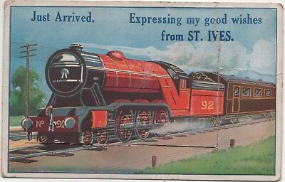 St Ives Cornwall novelty, pull-out postcard - Express steam train.
