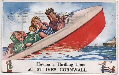 St Ives Cornwall novelty, pull-out postcard - Speedboat.