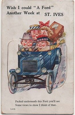 St Ives Cornwall novelty, pull-out postcard - Ford motor car.