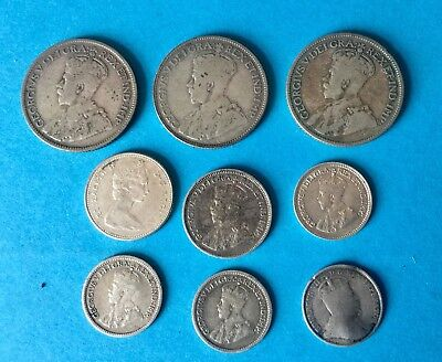 Job Lot Of Canadian Silver Coins 3 X Quarters 2 X 10 Cents 4 X 5 Cents