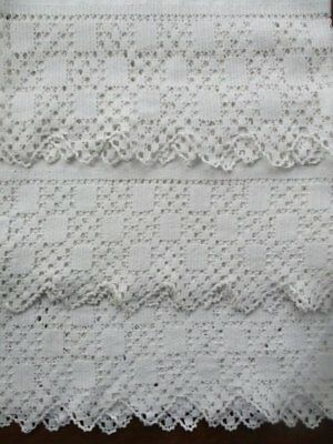 3 Beautiful Vintage Hand Worked Deep Lace Edge White Cotton Sheet Ends Shams