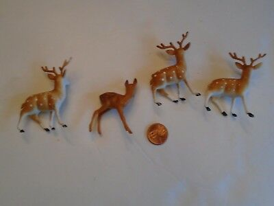 VINTAGE SET/4 DEER STANDING - 3 BUCKS & 1 DOE PLASTIC CHRISTMAS Decor Figures