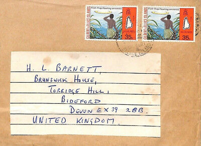 BT27 Gilbert & Ellice Islands 1970s Commercial Airmail RE-USED Cover FISHING