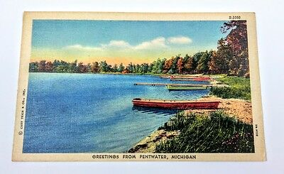 Pentwater, MI~Greetings from~canoes~note about robbery at Grand Hotel~PM 1958