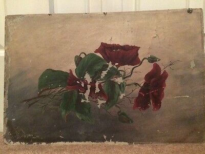 Antique Victorian Oil Painting Red & Green Floral on Devoe Board 1902 Faraday