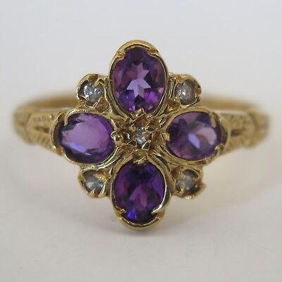 Antique Victorian 1896 18k Gold Amethyst Diamond Flower Cluster Sz 7 Ring
