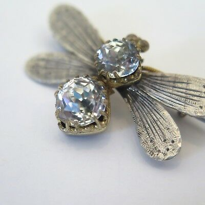 Antique Victorian Sterling Silver Glass Paste Bug Fly Bee Insect Brooch Pin