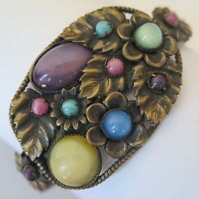 "Vtg 1930s Art Deco Signed Czech Glass Pastel Flower 1.25"" Wide Bracelet"