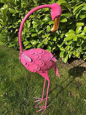 *CLEARANCE* Large Metal Freestanding Pink Flamingo Garden Pond Outdoor Ornament