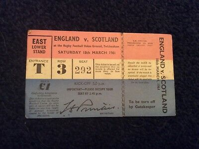 1961,  ENGLAND V SCOTLAND,TWICKENHAM MARCH 18th,  east lower stand.  Complete.